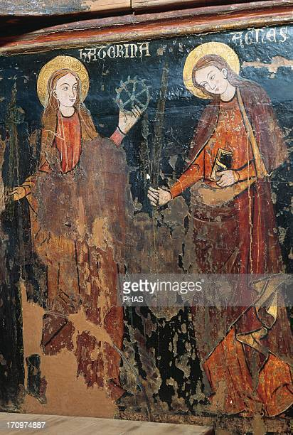 Linear Gothic Spain 14th century Priory chair of Blanche of Aragon and Anjou nun and prioress Inside the chair arms are depicted St Catherine of...
