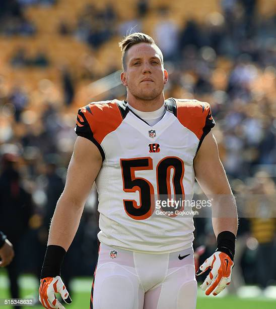 Linebacker AJ Hawk of the Cincinnati Bengals looks on from the field before a game against the Pittsburgh Steelers at Heinz Field on November 1 2015...
