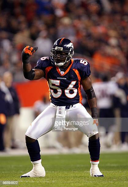 Linebacker Al Wilson of the Denver Broncos reacts after a play in the first quarter of the AFC Divisional Playoff game against the New England...