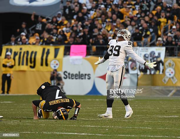 Linebacker Aldon Smith of the Oakland Raiders celebrates after sacking quarterback Ben Roethlisberger of the Pittsburgh Steelers during a game at...