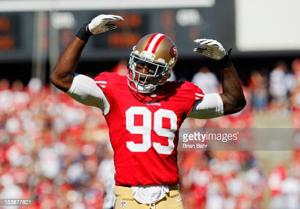 Linebacker Aldon Smith of the San Francisco 49ers amps up the crowd against the Buffalo Bills in the first quarter on October 7 2012 at Candlestick...