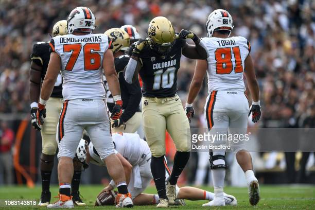 Linebacker Alex Tchangam of the Colorado Buffaloes celebrates after a sack of quarterback Jack Colletto of the Oregon State Beavers during a game at...