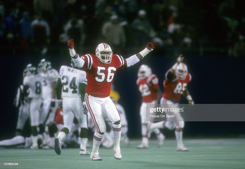 Linebacker Andre Tippett of the New England Patriots celebrate after the Patriots defeated the New York Jets 2614 in the NFL/AFC Wildcard game at...