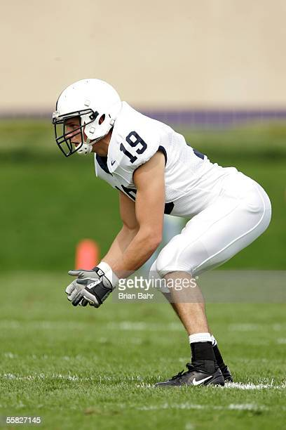 Linebacker Andy Kubic of the Penn State Nittany Lions readies in his defensive stance against the Northwestern Wildcats September 24, 2005 at Ryan...