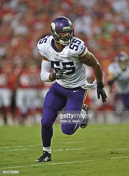 Linebacker Anthony Barr of the Minnesota Vikings gets set on defense against the Kansas City Chiefs during the first half on August 23 2014 at...