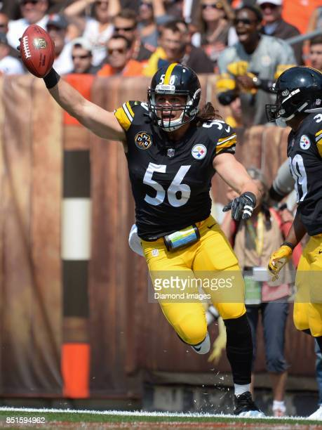 Linebacker Anthony Chickillo of the Pittsburgh Steelers celebrates after recovering a blocked punt for a touchdown in the first quarter of a game on...