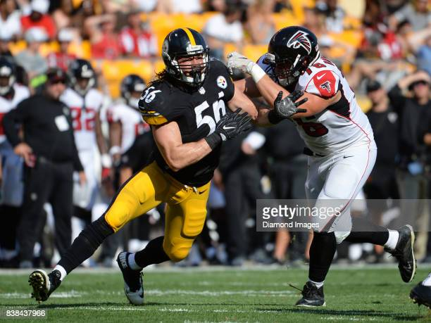 Linebacker Anthony Chickillo of the Pittsburgh Steelers engages left tackle Danile Brunskill of the Atlanta Falcons in the second quarter of a...