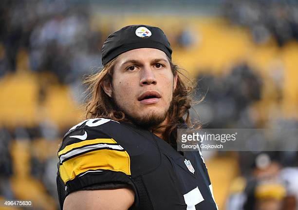 Linebacker Anthony Chickillo of the Pittsburgh Steelers looks on from the field after a game against the Oakland Raiders at Heinz Field on November 8...