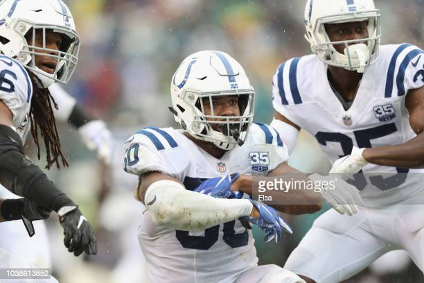 Linebacker Anthony Walker of the Indianapolis Colts celebrates after picking off a pass intended for tight end Zach Ertz of the Philadelphia Eagles...