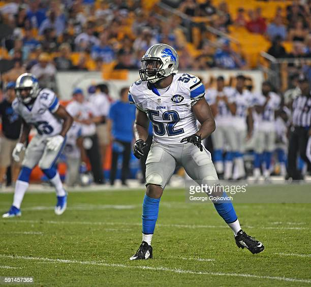 Linebacker Antwione Williams of the Detroit Lions looks on from the field during a National Football League preseason game against the Pittsburgh...