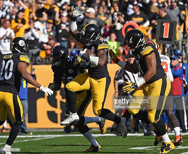 Linebacker Arthur Moats of the Pittsburgh Steelers celebrates with safety Will Allen linebacker Ryan Shazier and defensive lineman Stephon Tuitt...