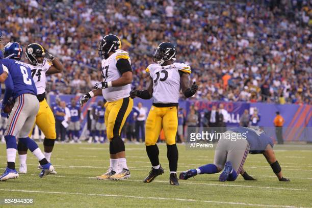 Linebacker Arthur Moats of the Pittsburgh Steelers has a sack against the New York Giants during an NFL preseason game at MetLife Stadium on August...