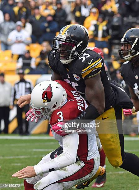 Linebacker Arthur Moats of the Pittsburgh Steelers hits quarterback Carson Palmer of the Arizona Cardinals during a game at Heinz Field on October 18...