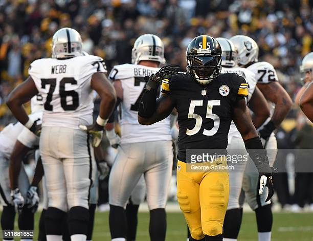 Linebacker Arthur Moats of the Pittsburgh Steelers looks on from the field during a game against the Oakland Raiders at Heinz Field on November 8...