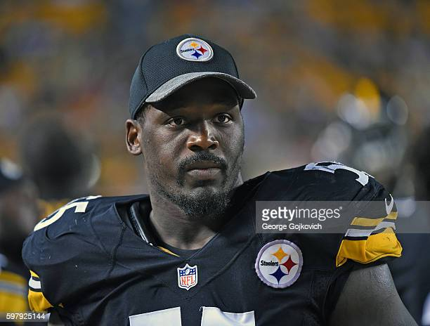 Linebacker Arthur Moats of the Pittsburgh Steelers looks on from the sideline during a National Football League preseason game against the...