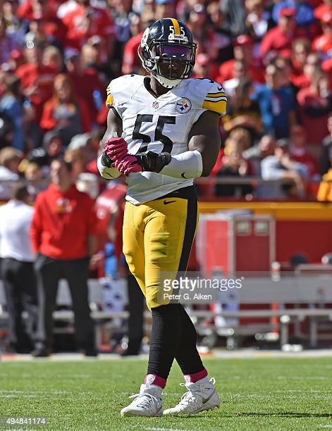 Linebacker Arthur Moats of the Pittsburgh Steelers looks to the sideline against the Kansas City Chiefs during the second half on October 25 2015 at...