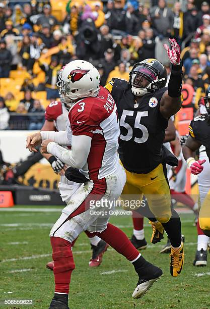 Linebacker Arthur Moats of the Pittsburgh Steelers pressures quarterback Carson Palmer of the Arizona Cardinals during a game at Heinz Field on...