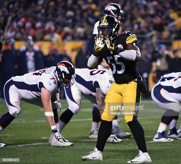 Linebacker Arthur Moats of the Pittsburgh Steelers signals during a game against the Denver Broncos at Heinz Field on December 20 2015 in Pittsburgh...