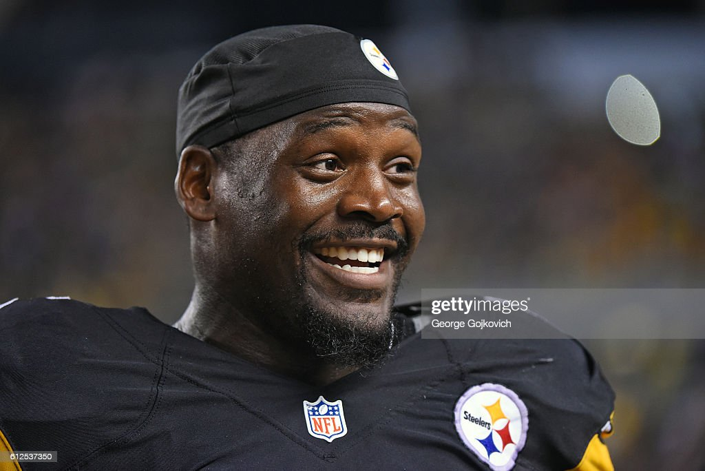 Linebacker Arthur Moats #55 of the Pittsburgh Steelers smiles as he looks on from the sideline during a game against the Kansas City Chiefs at Heinz Field on October 2, 2016 in Pittsburgh, Pennsylvania. The Steelers defeated the Chiefs 43-14.
