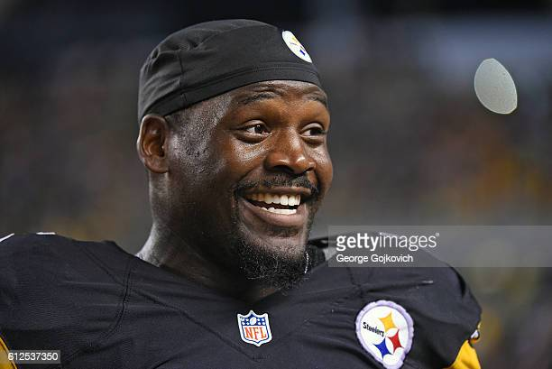 Linebacker Arthur Moats of the Pittsburgh Steelers smiles as he looks on from the sideline during a game against the Kansas City Chiefs at Heinz...