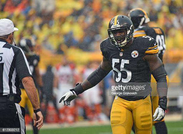 Linebacker Arthur Moats of the Pittsburgh Steelers talks to referee Pete Morelli during a game against the Cincinnati Bengals at Heinz Field on...