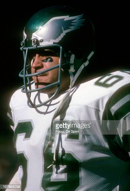 Linebacker Bill Bergey of the Philadelphia Eagles watches the action from the sidelines against the Atlanta Falcons during an NFL football game at...