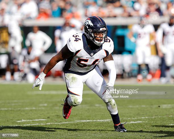 Linebacker Brandon Marshall of the Denver Broncos during the game against the Jacksonville Jaguars at EverBank Field on December 4 2016 in...
