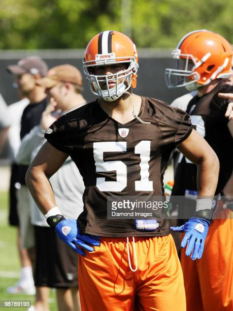 Linebacker Brandon McLaughlin of the Cleveland Browns watches a play during the team's rookie and free agent mini camp on April 30 2010 at the...