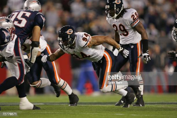 Linebacker Brendon Ayanbadejo of the Chicago Bears rushes the New England Patriots on November 26 2006 at Gillette Stadium in Foxborough...