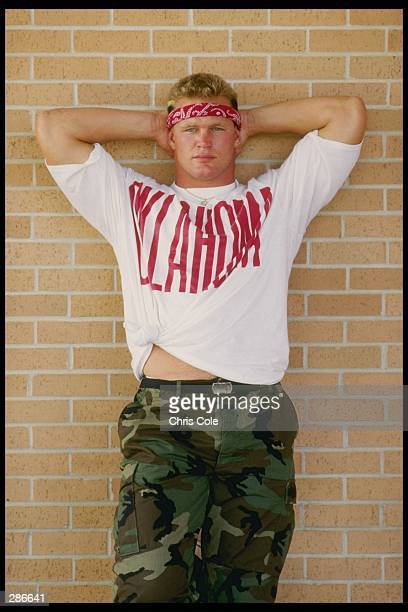 Linebacker Brian Bosworth of the University of Oklahoma during a photo shoot at the University campas in Norman Oklahoma Mandatory Credit Chris Cole...