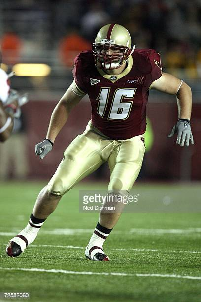 Linebacker Brian Toal of the Boston College Eagles defends against the Virginia Tech Hokies at Alumni Stadium on October 12 2006 in Chestnut Hill...