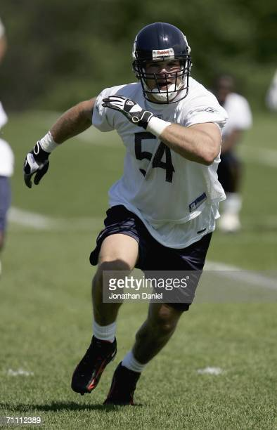Linebacker Brian Urlacher of the Chicago Bears chases down a runner during a mini-camp practice on June 2, 2006 at Halas Hall in Lake Forest,...
