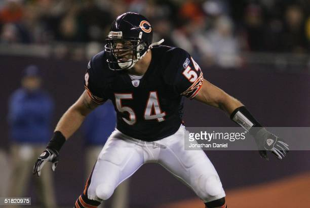 Linebacker Brian Urlacher of the Chicago Bears drops back during the game against the San Francisco 49ers at Soldier Field on October 31, 2004 in...