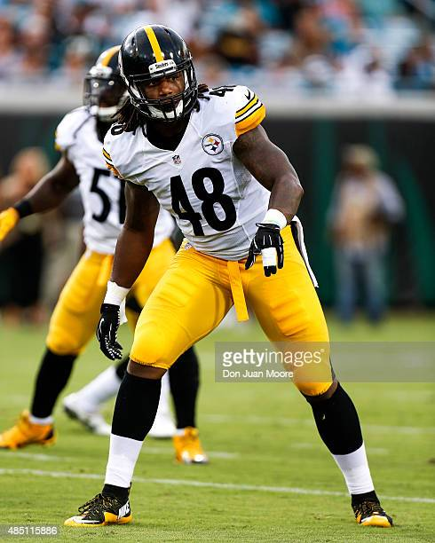 Linebacker Bud Dupree of the Pittsburgh Steelers during a preseason game against the Jacksonville Jaguars at EverBank Field on August 14 2015 in...