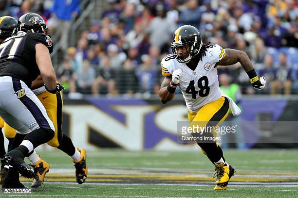 Linebacker Bud Dupree of the Pittsburgh Steelers rushes the passer during a game against the Baltimore Ravens on December 27 2015 at MT Bank Stadium...