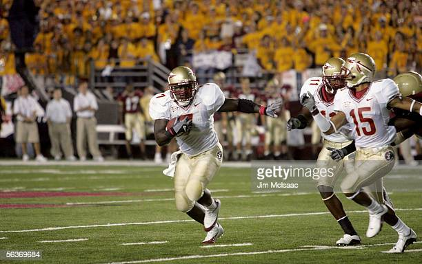Linebacker Buster Davis of the Florida State Seminoles carries the ball against the Boston College Eagles at Alumi Stadium on September 17, 2005 in...