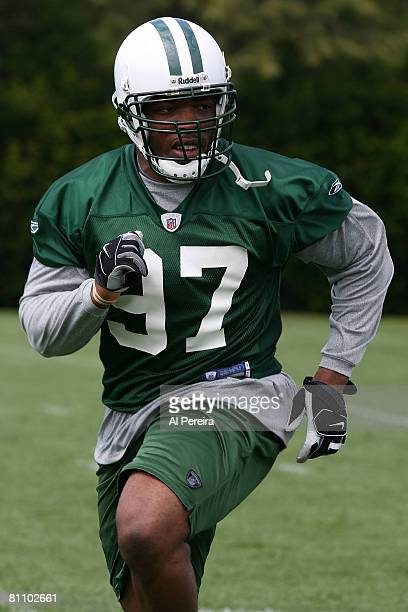 Linebacker Calvin Pace of the New York Jets follows the play in the Organized Team Activities at the team's facilities May 15, 2008 in Hempstead, New...