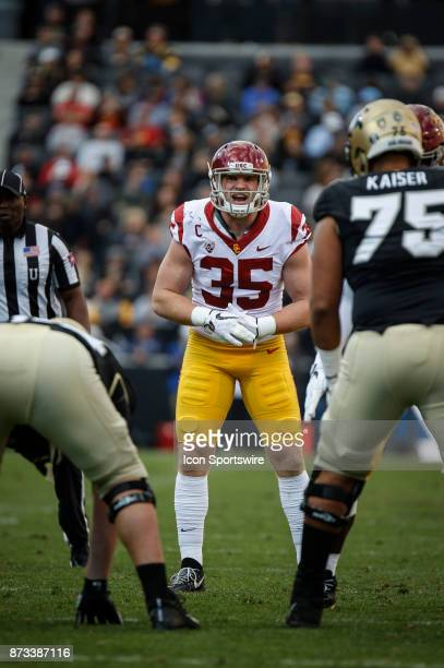 USC linebacker Cameron Smith lines up against Colorado during the Colorado Buffalos game versus the USC Trojans on November 11 at Folsom Field in...