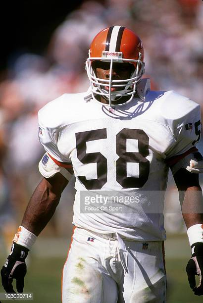 Linebacker Carl Banks of the Cleveland Browns in this portrait circa 1994 before an NFL football game Banks played for the Browns from 199495