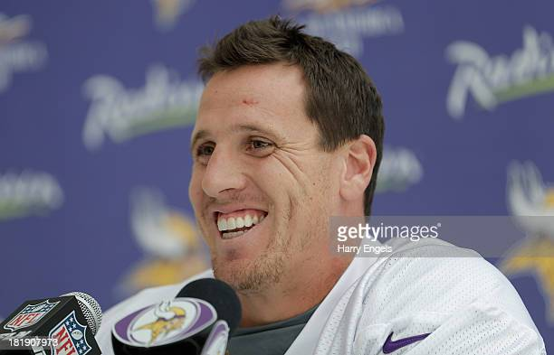 Linebacker Chad Greenway talks to members of the press during a Minnesota Vikings press conference at the Grove Hotel on September 26 2013 in London...