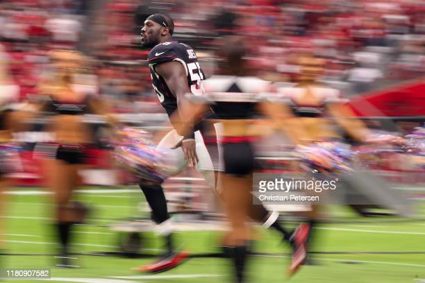 Linebacker Chandler Jones of the Arizona Cardinals is introduced to the NFL game against the Atlanta Falcons at State Farm Stadium on October 13 2019...