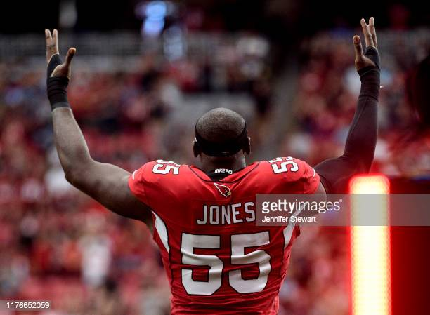 Linebacker Chandler Jones of the Arizona Cardinals takes the field for the NFL game against the Carolina Panthers at State Farm Stadium on September...
