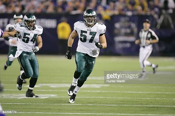 Linebacker Chris Gocong of the Philadelphia Eagles during the NFC Wild Card playoff game against the Minnesota Vikings on January 4, 2008 at the...