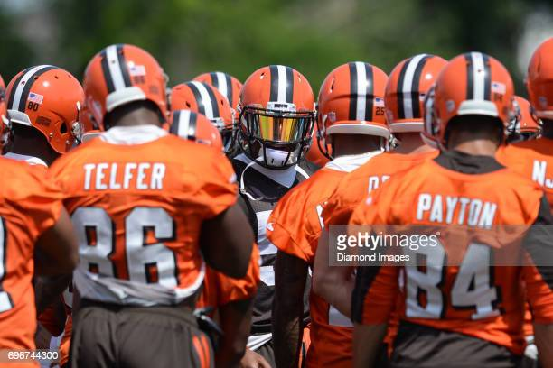 Linebacker Christian Kirksey of the Cleveland Browns addresses the team in the huddle during a veteran mini camp practice on June 13 2017 at the...
