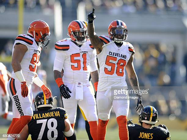 Linebacker Christian Kirksey of the Cleveland Browns celebrates a sack during a game against the Pittsburgh Steelers on January 1 2017 at Heinz Field...