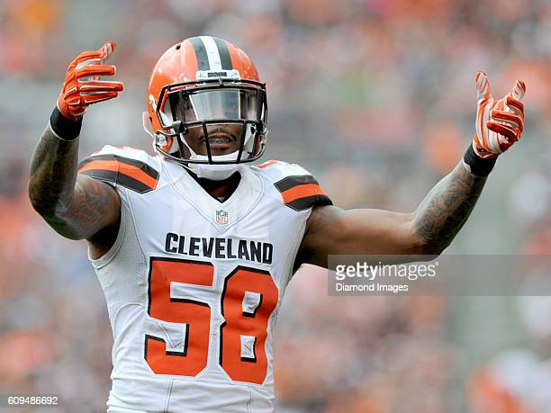 Linebacker Christian Kirksey of the Cleveland Browns gestures toward the crowd during a game against the Baltimore Ravens on September 18 2016 at...