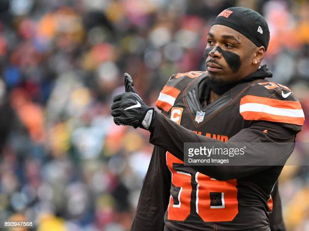 Linebacker Christian Kirksey of the Cleveland Browns gives a thumbs up toward the sideline in the first quarter of a game on December 10 2017 against...
