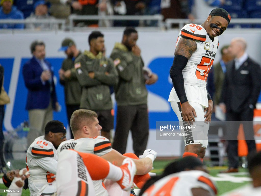 Linebacker Christian Kirksey #58 of the Cleveland Browns smiles as he stretches prior to a game on November 12, 2017 against the Detroit Lions at Ford Field in Detroit, Michigan. Detroit won 38-24.