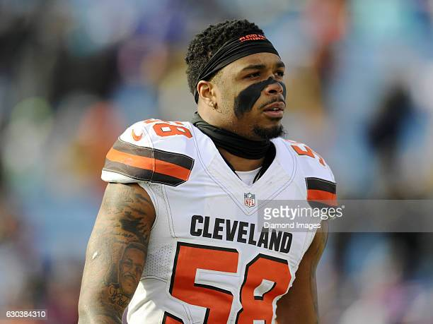 Linebacker Christian Kirksey of the Cleveland Browns walks toward the sideline prior to a game against the Buffalo Bills on December 16 2016 at New...
