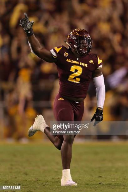 Linebacker Christian Sam of the Arizona State Sun Devils celebrates during the final moments of the second half of the college football game against...